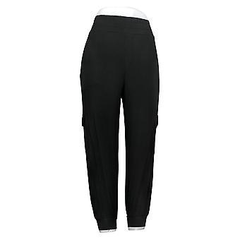AnyBody Women's Pants Petite Cozy Knit Cargo Jogger Black A310165