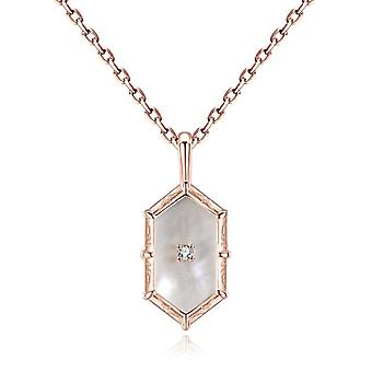 Gemshadow mother-of-pearl Shell necklace for women silver jewelry Sterling plated in rose gold 18K