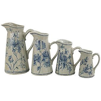 Set Of 4 Ceramic Jugs, Vintage Blue & White Magnolia Design