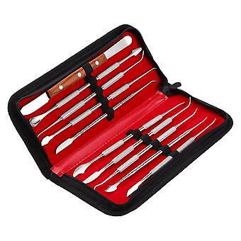 Roestvrij staal wax graveren kit tandheelkundige wax tool set met opbergtas | Tanden bleken (zwart)