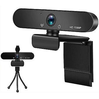 كاميرا ويب 1080P مع ميكروفون، USB كاميرا ويب مع ترايبود، كاميرا ويب الكمبيوتر للكمبيوتر المكتبي والكمبيوتر المحمول، وكاميرا ويب للفيديو، والدراسة، ومؤتمرات الفيديو، وتسجيل، والألعاب، والدروس على الانترنت (أسود)