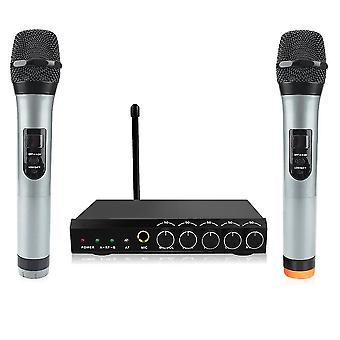 bluetooth Wireless Microphone System VHF Dual Channel Handheld Micorphone Mini Portable Singing Mixe