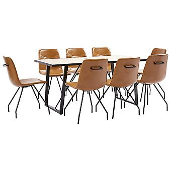vidaXL 9 pcs. Dining group Cognac faux leather