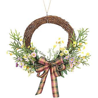 Corona primaverile della porta d'ingresso, foglia di corna di girasole mezza corona, muro della festa di nozze
