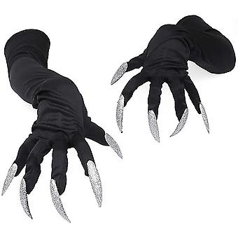 Monster Claw Halloween Cosplay Gloves With Silver Shining Long Nail For Kids