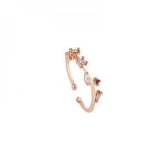 New Zircon Leaf Forest Elegant And Sweet Open Mouth Color Diamond Ring For Women