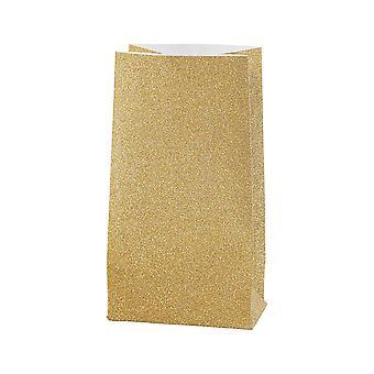 8 pequenos sacos de papel de glitter de 17cm de ouro