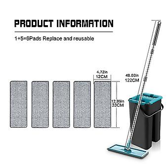 Flat Mop With Bucket Rotation; 360-degree Mopping And Cleaning 6 Microfiber Pads For Wet And Dry Purposes