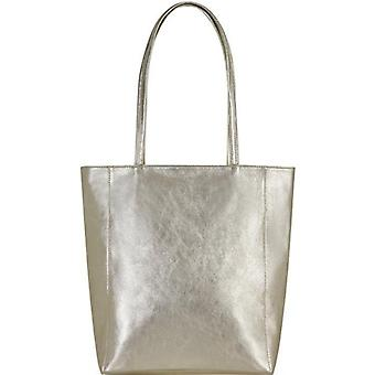 Guld Zip Top Läder Tote Shopper Väska