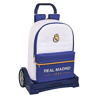 School Rucksack with Wheels Real Madrid C.F. Blue White