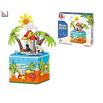 0982 Merry-go-round Summer Beach Music Rotating Box Decoration Children's Puzzle Assembling Building Blocks