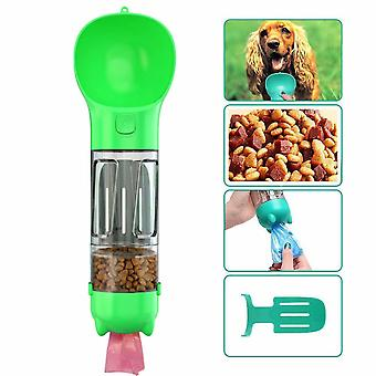 Dog Water Bottle For Walking, Pet Drinking Cup 300 Ml With Poop Bag, Shovel, Dog Food Box, Cats, Green