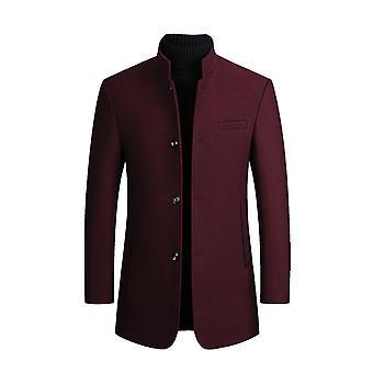 Yunyun Men's Solid Color Stand-up Collar Plus Velvet Casual Slim Fit Overcoat