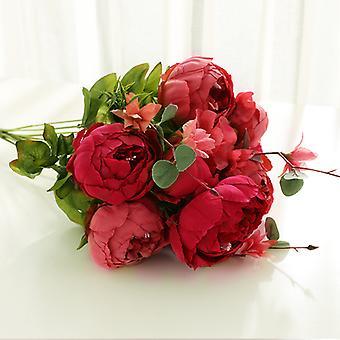 פרחים מלאכותיים 28 פרחי אדמונית בסגנון אירופאי