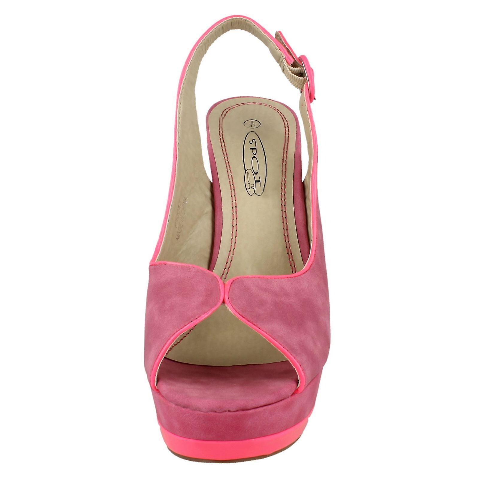 Ladies Flekk På Høy Heeled Peep Toe Spent Stroppen Sandaler