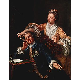 William Hogarth - Portrait in Orange and Blue Poster Print Giclee