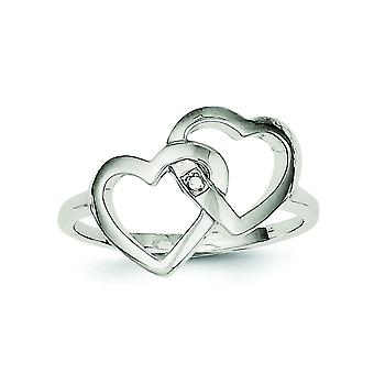 925 Sterling Silver Solid Polished Diamond Accent Intertwined Heart Ring - Ring Size: 6 to 8