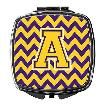 Carolines Treasures  CJ1041-ASCM Letter A Chevron Purple and Gold Compact Mirror