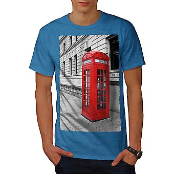 Telephone Box UK Fashion Men Royal BlueT-shirt | Wellcoda