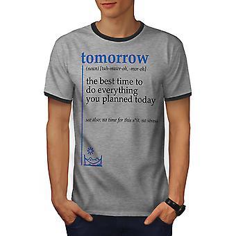 Morgen am besten Männer Heather Grey / Heather dunkles GreyRinger T-shirt | Wellcoda