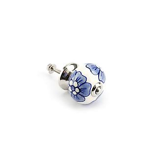 CGB Giftware White And Blue Flower Drawer Handle