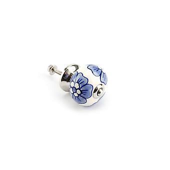 Manija del cajón de flores CGB regalos blanco y azul