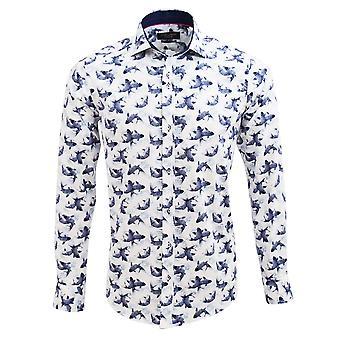 Guia Londres algodão Sateen natação peixes estêncil imprimir Mens camisa