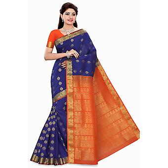 Avni blå med Orange kunst silke Sari Saree Bellydance Wrap