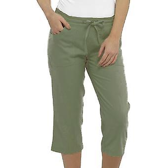 kvinners solid farge lin 3/4 lengde bukse bunner lounge slitasje bukser - khaki - 12