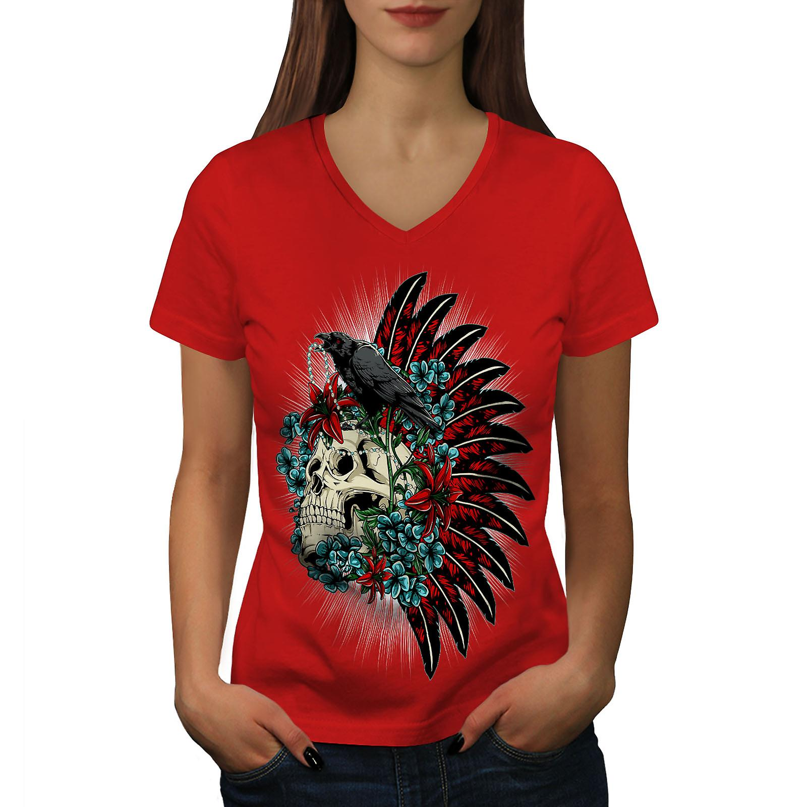 Crâne Corbeau mort fantaisie femmes RedV-Neck T-shirt | Wellcoda