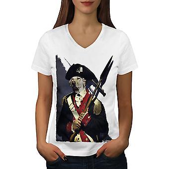 Dog Solider Army Funy Naisten WhiteV-Neck T-paita | Wellcoda, mitä sinä olet?