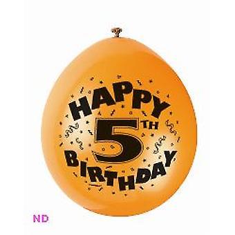 """Ballonnen 'HAPPY 5e verjaardag' 9"""" Latex ballonnen (10)"""