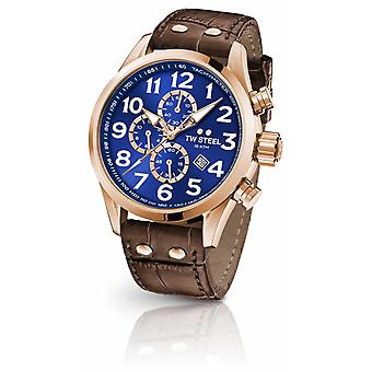 TW Steel Volante 45mm Chronograaf bruin lederen band Blue Dial VS83 horloge