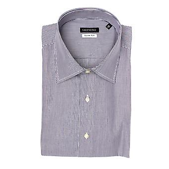 Valentino Men's Slim Fit Cotton Dress Shirt Pinstripe-Black-White