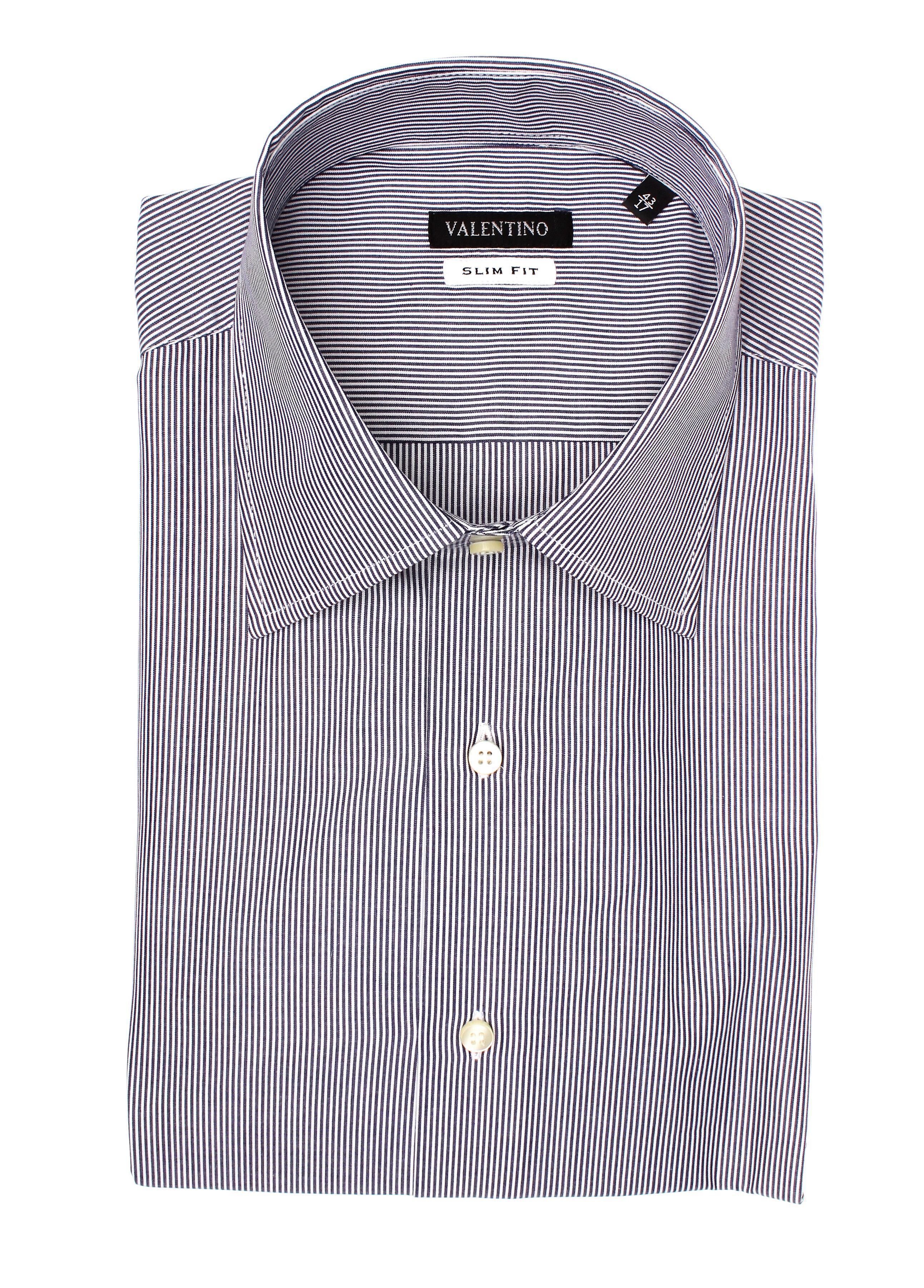 Valentino Men's Slim Fit Cotton Dress Shirt Pinstripe-Black-White