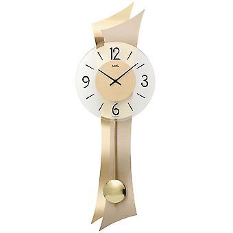 Wall clock wall clock quartz with pendulum wooden case mineral glass brass