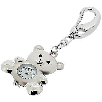 Gift Time Products Teddy Bear Clock Key Ring - Silver