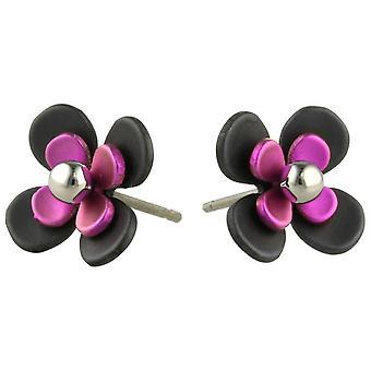Ti2 Titanium Black zurück vier Blütenblatt Blume Ohrstecker - Candy Pink