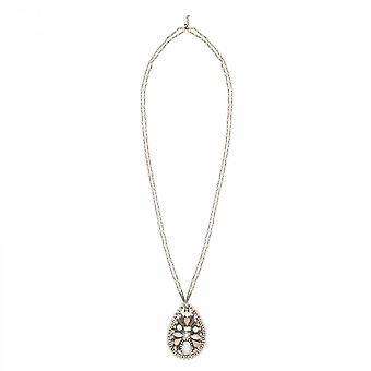Butterfly Crochet Teardrop Jewel Detail Necklace