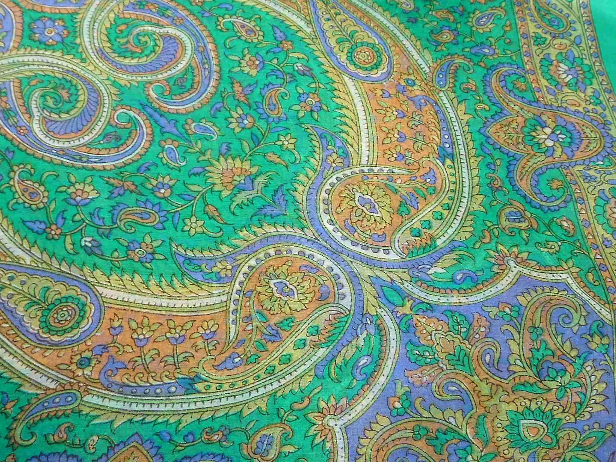 Mulberry Silk Traditional Square Scarf Firoza Green by Pashmina & Silk