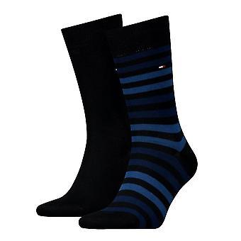Tommy Hilfiger 2 Pack Duo Stripe calcetín - Marina de guerra oscuro