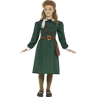 WW2 Evacuee tyttö puku, vihreä, mekko, hattu, laukku & nimi Tag