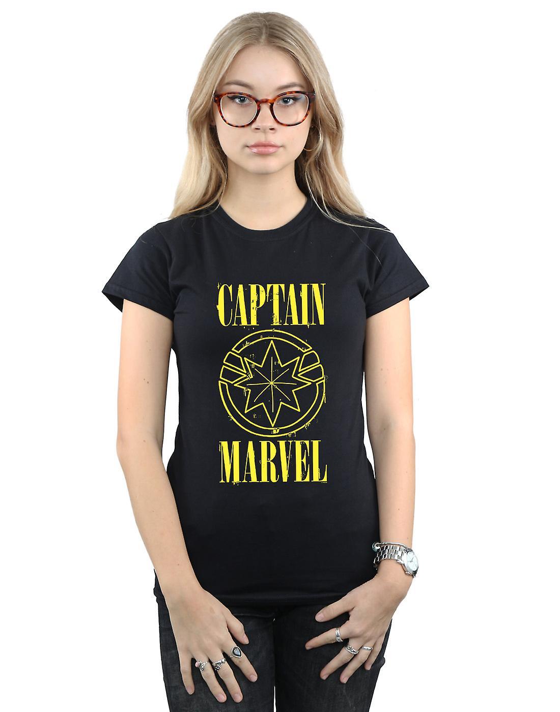 Marvel Women's Captain Marvel Grunge Logo T-Shirt
