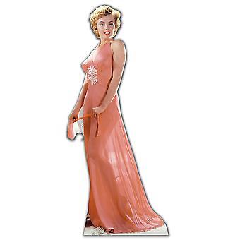 Marilyn Monroe yllään Peach yöasu / iltapuku - Lifesize pahvi automaattikatkaisin / seisoja