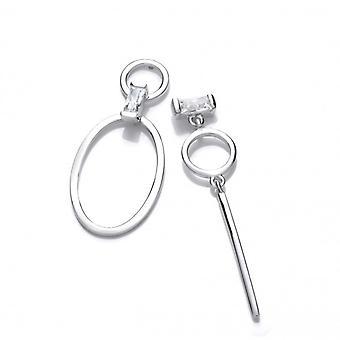 Cavendish francese in argento e orecchini pendenti tondi e ovali di mancata corrispondenza di CZ