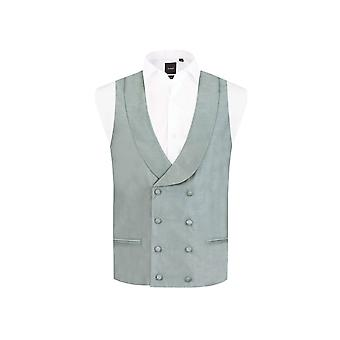 Dobell hombres chaleco plata Regular Fit doble Breasted mantón de la solapa Dupion