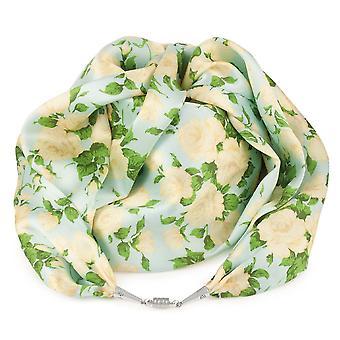 Eternal Collection Rose Garden Cream Multi Coloured Liberty Print Pure Satin Silk Infinity Scarf