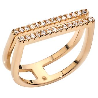 اه! المجوهرات الذهب الحقيقي شغل هندسية مكعب حلقة زركونيا.