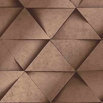 3D efecto triángulo geométrico plata gris cobre metalizado papel pintado decoración fina