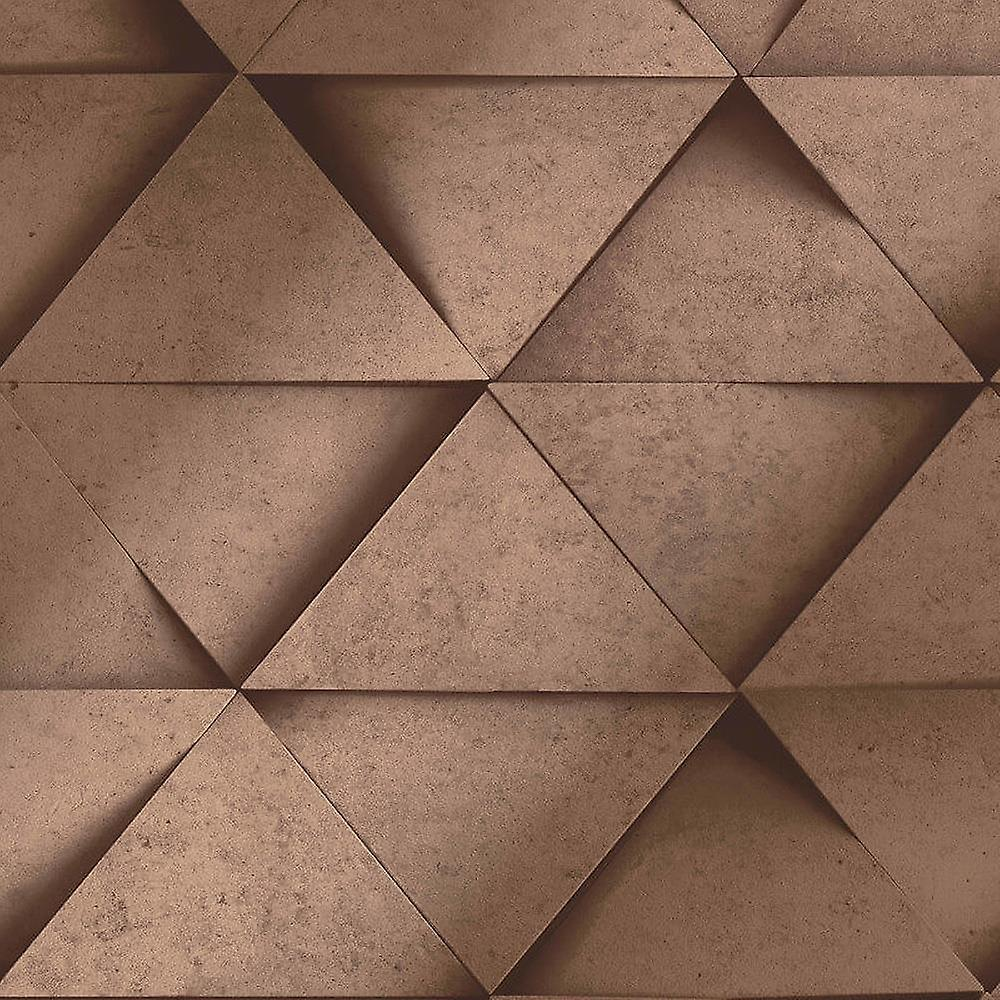 3D Effect Geometric Triangle Copper Metallic Wallpaper Abstract Fine Decor